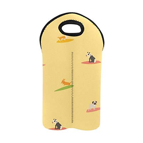 Picnic Wine Bag Cool Happy Fun Summer Day Surf Dog Wine Travel Bag Double Bottle Carrier Picnic Tote Bag Thick Neoprene Wine Bottle Holder Keeps Bottles Protected