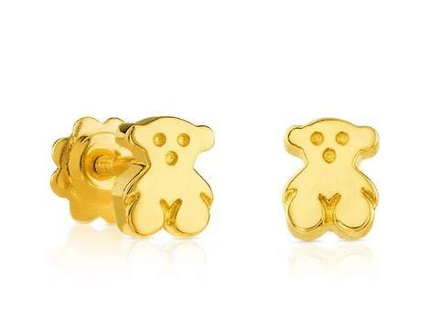 TOUS Bear - Pendientes en oro amarillo de 18kt con cierre de rosca para niña. Motivo: 0,6 cm.
