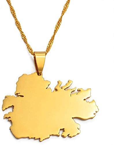 NC190 Collar y Collares con Colgante de Mapa del país de Antigua, Regalos, joyería de Color Dorado