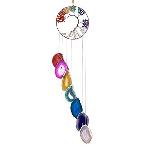 KYEYGWO 7 Chakra Healing Crystal Wall Hanger Ornament Handmade Tree of life with Agate Slice Wind Chime for Window Home Wedding Souvenir Decoration
