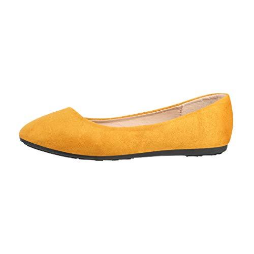 Elara Ballerina Donna Scamosciata Confortevole Flat Chunkyrayan Giallo DY-10 Yellow-37