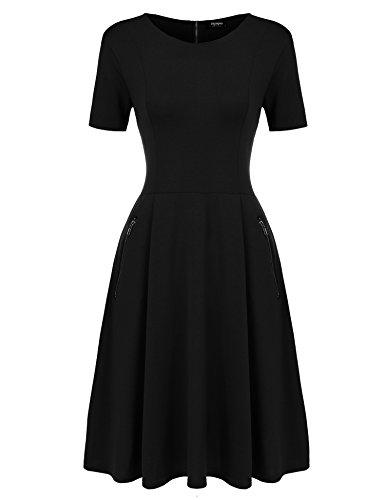 Zeagoo Damen Skaterkleider Kurzarm Swing Kleider Basic A-linie Knielang beiläufiges Kleid elegant Baumwolle Partykleid Sommerkleider, Schwarz, EU 42/ XL