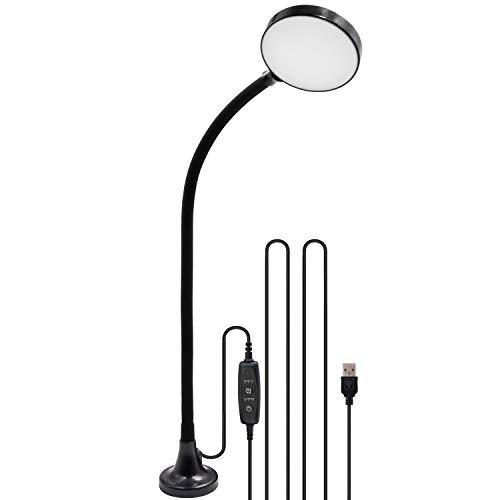 LED Magnet Schwanenhals Tischleuchte Arbeitslampe Nähmaschine Lampe Dimmbar mit USB Anschluss 4W SMD2835 LED mit Länge 3 Meter USB Netzkabel von Enuotek