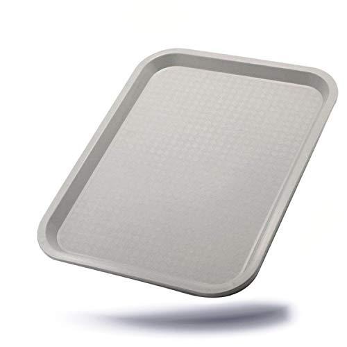 Kerafactum praktisches Servier Tablett Serviertablett Gläsertablett abräumen Gastrotablett rutschhemmend 45,5 x 35,5 cm stapelbar Farbe lichtgrau Gastronomie Kantine