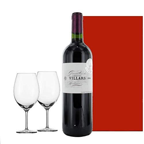 【お祝い】 誕生日 結婚祝い 結婚記念日 赤ワイン ペアグラス付き ワイングラス 【ギフト】 フランス ボルドー ポムロール フロンサック 「シャトー・ヴィラール」2006年 750 ml お誕生日プレゼント 結婚祝い ワインギフト ギフト箱入り 受賞ワイン