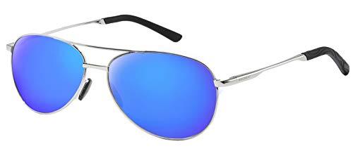 WHCREAT Klassisch Unisex Polarisierte Sonnenbrille mit Ultraleicht Verstellbaren Metallrahmen HD-Linse für Herren und Damen - Silber Rahmen Eisblau Linse