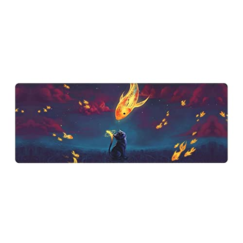 Cat Art Face Goldfish Town Fantasy Clouds Gaming Mouse Pad Large Design Desk Pad Computer Keyboard Mouse Mat with Non Slip Rubber Base 31.5x11.8 inch