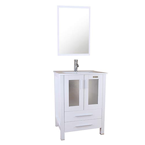 """U-Eway 24"""" White Bathroom Vanity with Ceramic Undermount Vessel Sink Combo,MDF Wood,Chrome Faucet Pop Up Drain with Overflow,24 White Bathroom Cabinet with Mirror,2 Drawers,20-inch Deep Cabinet"""