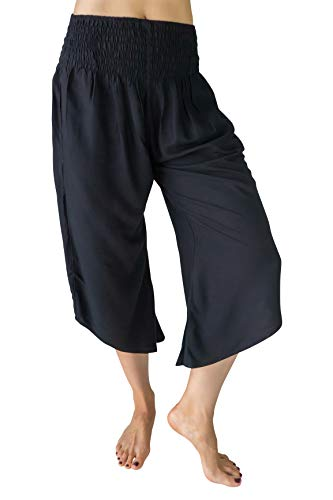 PIYOGA Women's Flared Capris 0-10 with Flowy Wide Leg, Elastic High Waist and 2 Pockets - Black is The New Black - Flared Capris