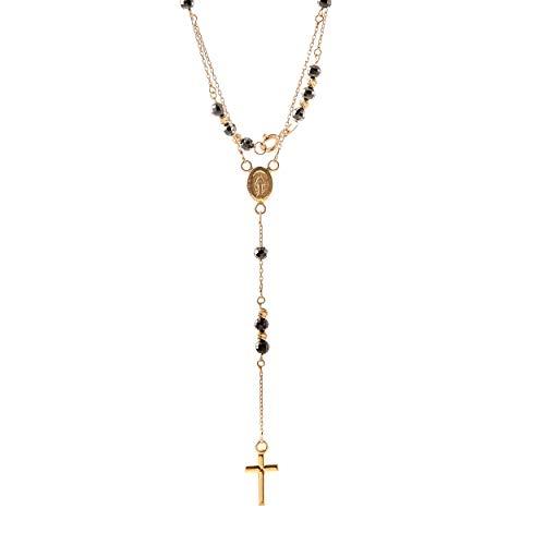 Goldene Damen Halskette 585 14k Gold Gelbgold Kette Rosenkranz Zirkonia Gravur