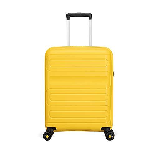 26-inch handbagage ultra-lichtgewicht PP koffer 4-wiel verticale reistoestas, rood geel