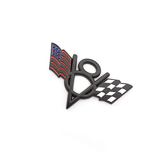Metal V8 US Racing Flag Car Styling Emblem Badge Fits For Chevrolet Corvette Camaro Fender Trunk Lid Nameplate Decoration (Black)