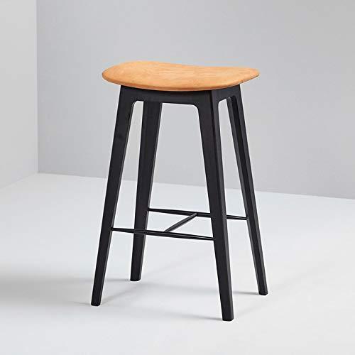 SACKit - Nordic Barhocker, schwarzes Buchenholz und Cognac Dunes Leder - Fully upholstered - Exklusive Moderne Barstühle im dänischen Design - Perfekt für die Küche - Sitzhöhe 73 cm