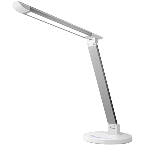 Lux LED Dimmable LED Desk and Table Lamp - Touch Sensitive Control - 7-Level Brightness and 5 Temperature Setting Color Modes- Includes USB Charging Port - White