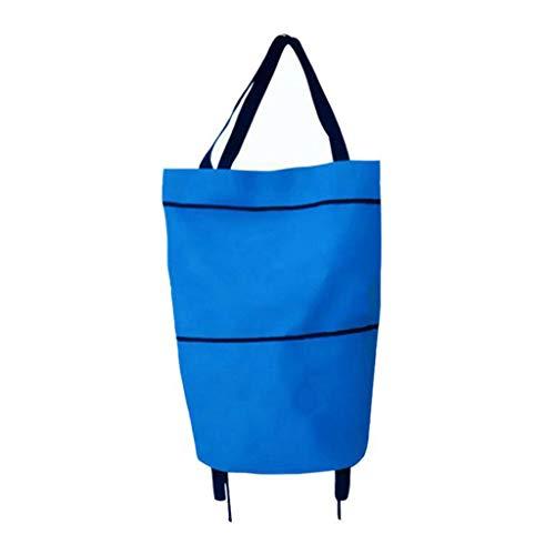 Tancyechy Portable Foldable Shopping Trolley Bag Carrello Waterproof Oxford Tote Basket Borse Shopping Trolley Bag Blue