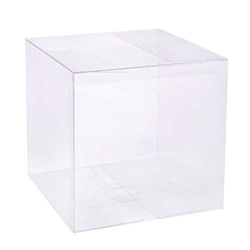 BENECREAT 10PCS PVC Caja Plegable Cajita Plástica 15x15x15cm Envase Transparente de Regalo Contenedor de Dulce Chocolate para Boda Fiesta Cumpleaños
