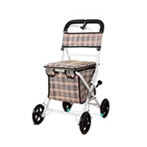 GSHWJS Trolley Plegable Portátil Old Scooter Carrito de la Compra Asiento Puede Sentarse Cuatro Rondas de Compras de Alimentos for Enviar cómodo Cojín de Aire Caliente Carretilla (Color : A)