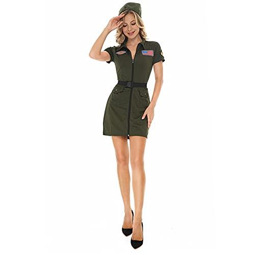 HIZQ Disfraz De Cosplay Halloween, Capitn Piloto La Fuerza Area, Avin Combate Disfraces Uniforme del Ejrcito Guerra Mundial para Mujeres Nias Deluxe Damas,L