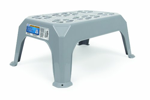 Camco Durable Large Step Stool  Textured Platform Surface to Help Prevent Slipping |Lightweight amp Sturdy | Design Excellent for RVs Trailers Trucks| 400 lb Capacity | 23quot x 16quot x 9 ¼quot  Gray 43470