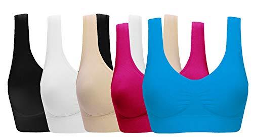Women's Comfort Workout Sports Bra Low-Impact Activity Sleep Bras Pack of 5 XL