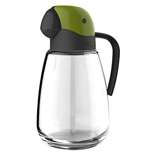 Dispensador de aceite, botella de vidrio de aceite de oliva con tapa automática, 800 ml a prueba de fugas y condimentos con tapa automática y tapón, boquilla antigoteo,mango antideslizante para cocina