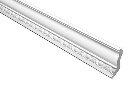 Marbet Deckenleiste B-08 weiß aus Styropor EPS - Stuckleisten gemustert, im traditionellen Design - (20 Meter Sparpaket) Styroporleisten Zierprofile Stuck
