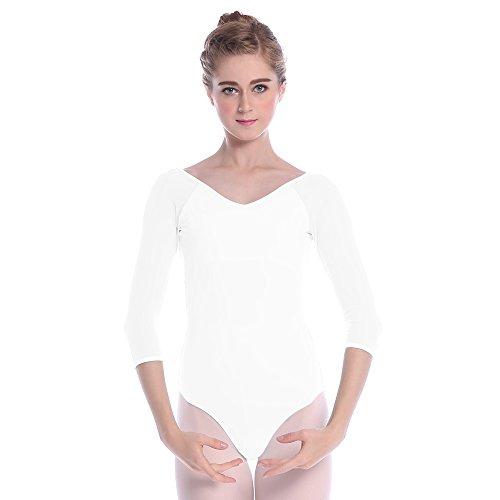 Bezioner Maillot de Danza Gimnasia Leotardo Clásico Ballet Vestido para Niñas Mujer Blanco,XL=160-165 cm
