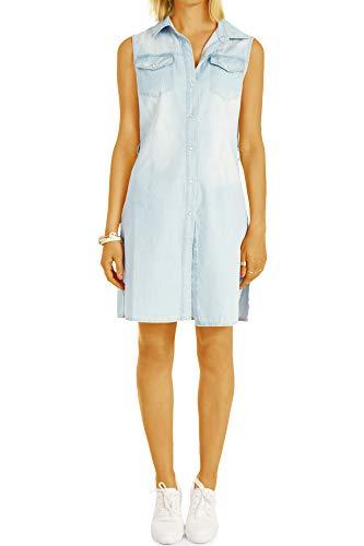 bestyledberlin Damen Blusen Hemden - Kleid im sommerlichen Look - ärmellos lockere Passform t80z 38/M