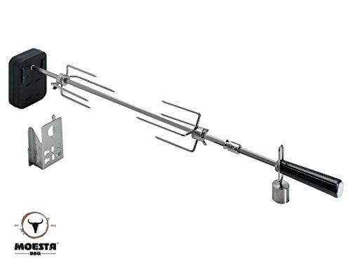 Moesta-BBQ 10037 Rotisserie-Set für Smokin' PizzaRing – Moesta Drehspieß mit kabellosem Batterie-Motor für Grill-Hähnchen u.v.a.- Für Kugel-Grills mit für 57 + 60cm Ø