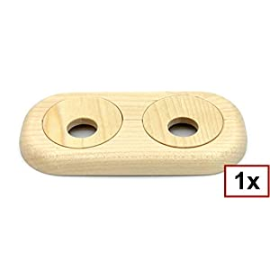 Roseta doble para tubos de calefacción, madera maciza, para tubo diámetros: 15 mm, 19 mm, 22 mm; rosetones/ protectoras…