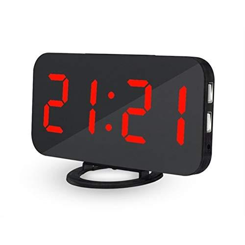 RongWang Espejo Reloj Despertador Relojes LED Digitales Carga De Teléfono USB Reloj Electrónico Mesa Snooze Relojes De Luz Ajustables Automáticos (Color : A3)