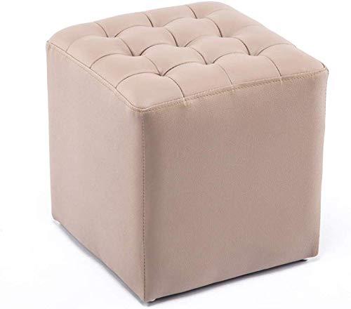 YLCJ schoenwisselkruk, opbergkruk, voetensteun, inklapbaar, voetensteun, van leer, gevoerde zitzak (editie: vier/kaki) Square/Khaki