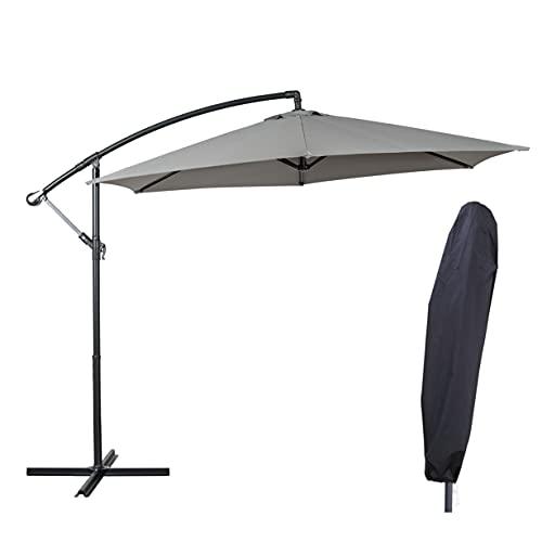Deuline® Alu Sonnenschirm Ø300cm Gartenschirm Marktschirm Ampelschirm mit Kurbel Alu Mast UV...