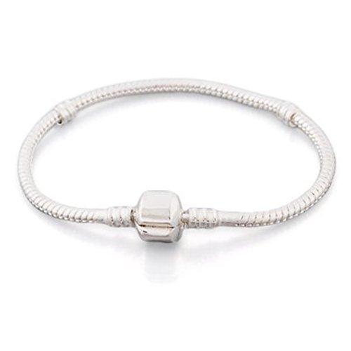 Andante-Stones - de Plata de Ley 925 sólida, Pulsera de Plata 19 CM 19CM Charm con Cierre a presión, Pulsera para Cuentas European Beads + Saco de Organza