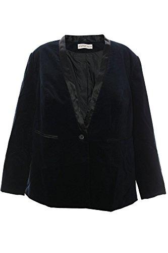 Sheego Samtblazer Blazer Satin Jacke Jacket Gehrock Damen Plusgröße Baumwolle, Farbe:schwarz;Damengrößen:50
