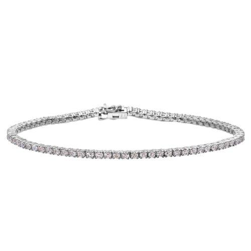 Naava Damen-Armband 18 ct Weiß Gold Tennis Diamanten Brillant Rund, 2 ct PBC01876W