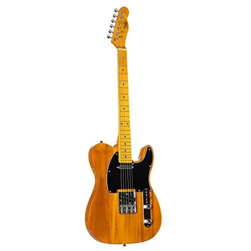 Fame E-Gitarre Special Natural im TL-Stil mit Paulownia-Korpus, Keramik Single Coils, Vintage Style
