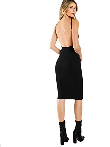 MAKEMECHIC Women's Sleeveless Open Back Knit Sexy Midi Bodycon Dress Black M