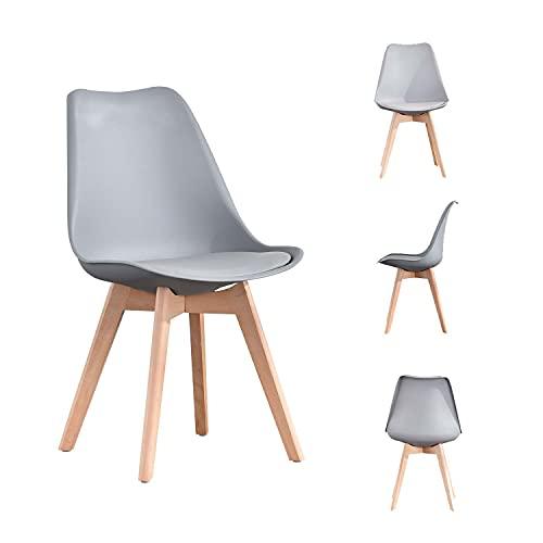 MeillAcc moderna silla de comedor clásica, material de cáscara de plástico de cuatro piezas, sala de estar, dormitorio y estudio (gris 2, 4)