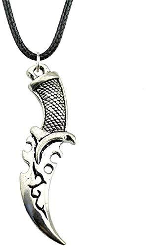ZGYFJCH Co.,ltd Collar Collares de Cadena de Cuero para Mujer Collar de Cuchillo 50X12Mm Joyería Vintage de Color Plata Antigua