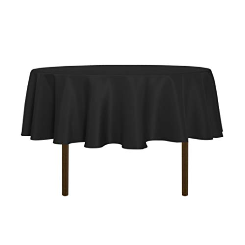 sancua Round Tablecloth - 60 Inch - Water Resistant Spill Proof Washable Polyester Table Cloth Decorative Fabric Table Cover for Dining Table, Buffet Parties and Camping, Black