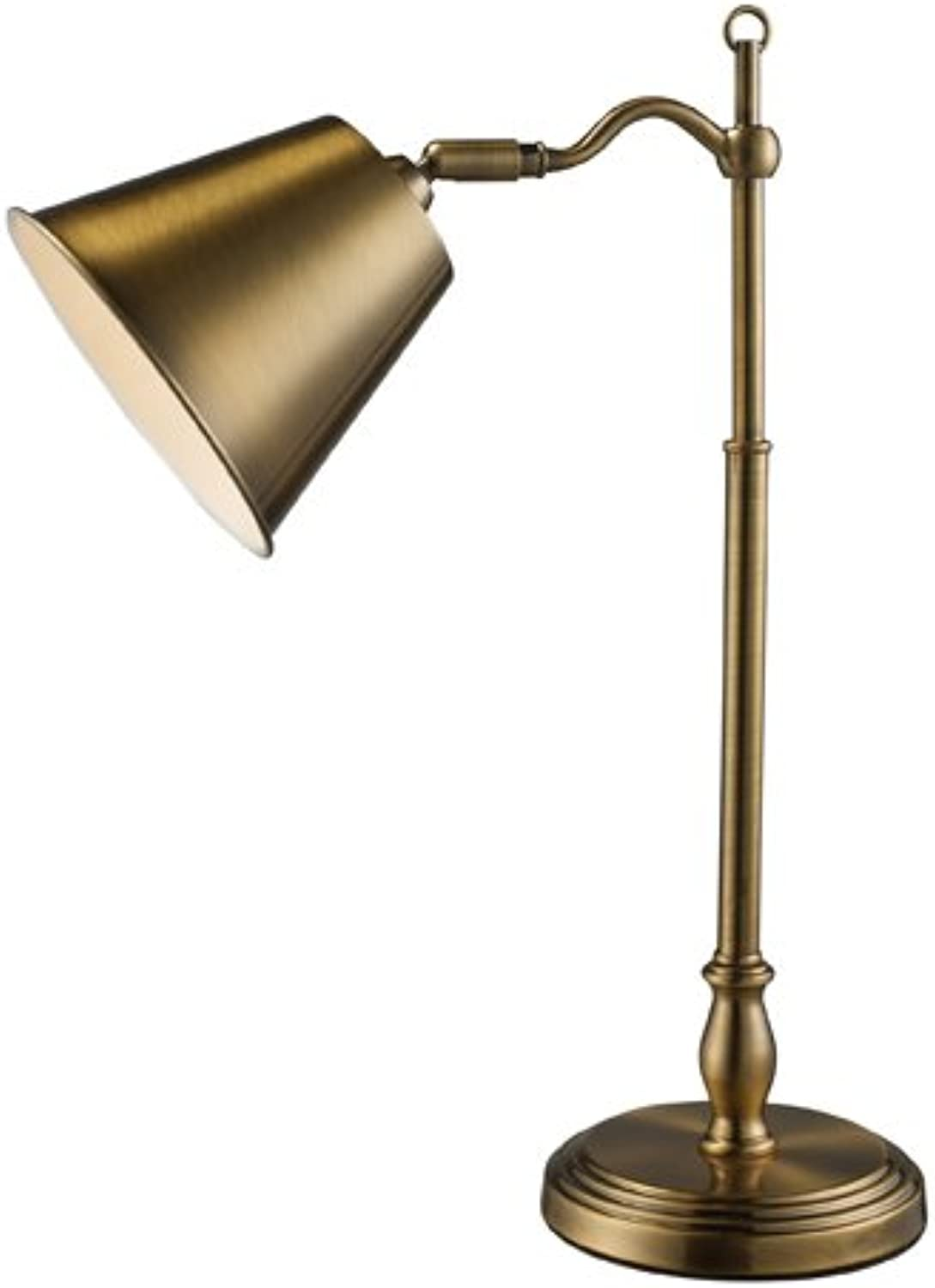 Dimond D1837 11-Inch Width by 19-Inch Height Hamilton Desk Lamp in Antique Brass with Antique Brass Shade
