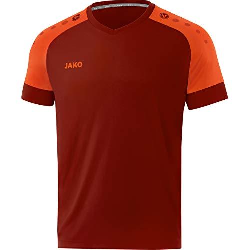 JAKO Camiseta para Hombre Champ 2.0 Ka, Hombre, Camiseta, 4220, Rojo Vino, Naranja neón, Large