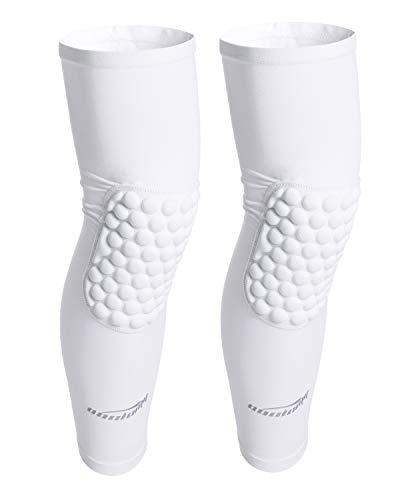 COOLOMG Basketball Knee Pads Kids Boys Girls Knee Compression Sleeves Long Leg Sleeves Wrestling Volleyball Baseball Sport White XS