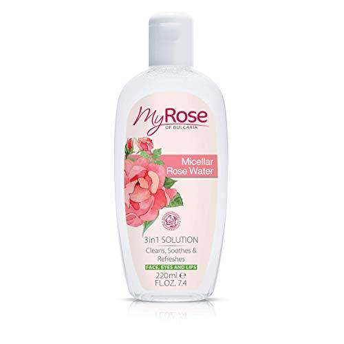 Micellaire Eau De Rose 3 en 1 Solution - Nettoie, Apaise & Rafraîchit your Face avec Bulgare Rosa Damascena Extrait 220ml