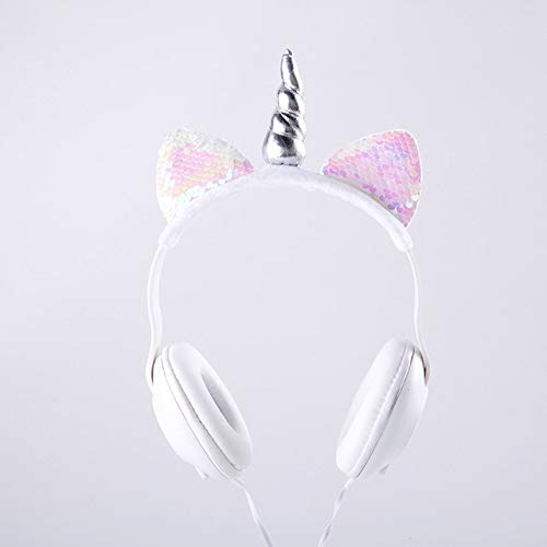 Lindo Oreja de Gato Unicornio LED Intermitente Auriculares con Cable Brillantes Auriculares...