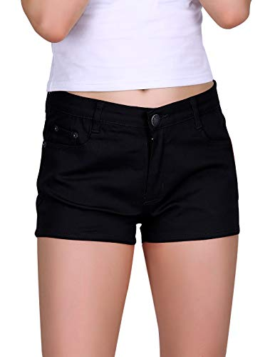 HDE Women's Solid Color Ultra Stretch Fitted Low Rise Moleton Denim Booty Shorts (Black, X-Large)
