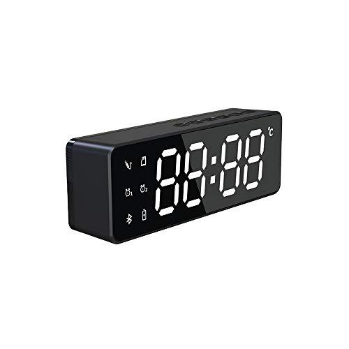GYZLZZB Altavoz portátil Bluetooth 5.0, altavoz inalámbrico para la conversación de manos libres, pantalla completa LED para pantalla de temperatura, reloj despertador, micrófono de reducción de ruido