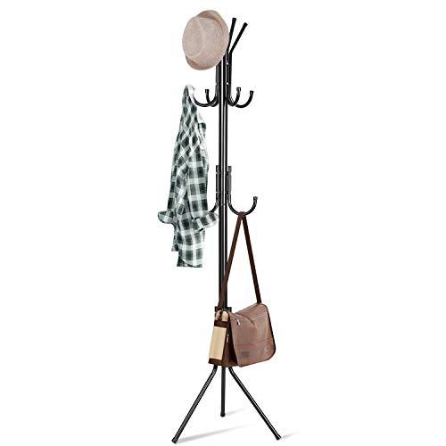 INTEY Garderobenständer Metall mit 11 Haken Höhe 173 cm Kleiderständer Vintage Kleiderstange Garderobe am Eingang, im Flur, Wohnzimmer und Schlafzimmer (schwarz)