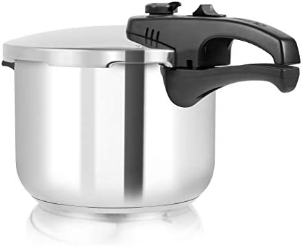 Tower T80244 Pressure Cooker with Steamer Basket, Stainless Steel, 6 Litre , Silver